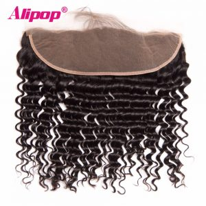 "ALIPOP Peruvian Deep Wave Lace Frontal Closure With Baby Hair 8""-24"" Pre Plucked Natural Hairline Non Remy Human Hair Bundles"