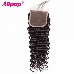 "ALIPOP Peruvian Deep Wave Lace Closure With Baby Hair Non Remy Hair Natural Color 8""-24"" Swiss Lace Human Hair Closure"