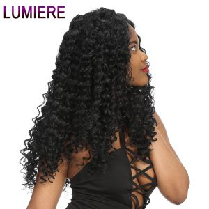 Lumiere Hair Deep Wave Peruvian Hair Bundles Human Hair Extensions Non Remy Natural Black Can Buy 3 or 4 Bundles Free Shipping