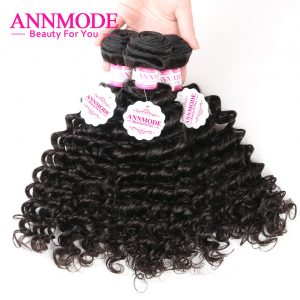 [Annmode] Malaysian Deep Wave Bundles Hair Free Shipping Natural Color 100g a Pcs Non-remy Human Hair Weaving