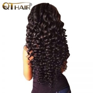 No Shedding Malaysian Deep Wave Human Hair Bundles Weave Natural Black Color 8-28 Inch Non Remy QThair