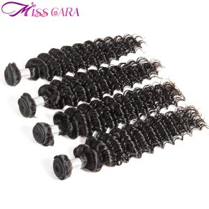 Miss Cara Deep Wave Malaysia Hair Weave Bundles 100% Human Hair Extensions Natural Black Color Non Remy Hair Weft Free Shipping