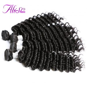 "Alishes Hair Malaysian Deep Wave Human Hair Bundles Natural Color 10""-28"" Remy Hair Weave Bundles Mixed Length Can Be Dyed"