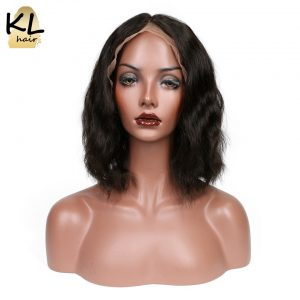 "KL Hair Natural Wave Lace Front Human Hair Wigs Bob 8""~14"" Short Bob Wigs Brazilian Remy Hair For Black Women With Baby Hair"