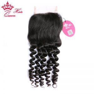 "Queen Hair Products Natural Wave Brazilian Virgin Hair Lace Closure 10""-18"" Natural Color 100% Human Hair"