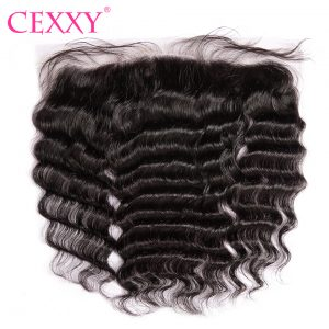 CEXXY Lace Frontal Closure Brazilian Remy Hair Nature Wave 13*4 Plucked Natural Hairline Bleached Knots Baby Hair Human Hair
