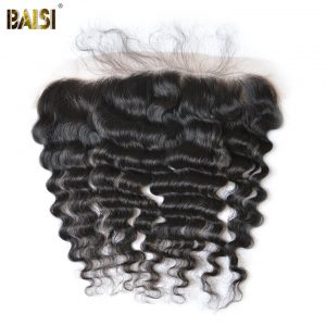 BAISI Brazilian Virgin Hair Natural Wave Plucked Natural Hairline Lace Frontal Size 13*4, Nature Color, 10-18inch Free Shipping