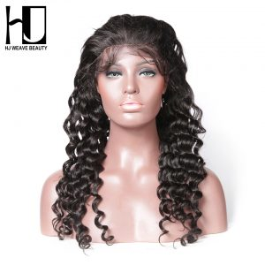 [HJ WEAVE BEAUTY] Human Hair Wigs Lace Front Wig Natural Wave Brazilian Remy Hair Natural Color Free Shipping