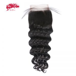 "Ali Queen Hair Products Natural Wave Brazilian Remy Hair Natural Color 8"" to 20"" 100% Human Hair Free Part Lace Closure"