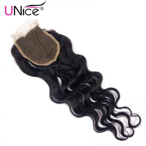 "UNICE HAIR Brazilian Natural Wave Lace Closure Free Part 100% Human Hair 10""-20"" Non-Remy Hair 120% Density Free Shipping"