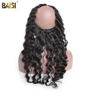 BAISI 360 Lace Frontal Peruvian Natural Wave Pre-Plucked 100% Human Hair Remy Hair Natural Hairline With Baby Hair Free Shipping