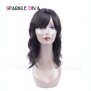 [SPARKLE DIVA HAIR] Peruvian None Lace Human Hair Wigs For Black Women Natural Wave Pre Plucked With Baby Hair Non Remy Hair