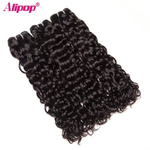 ALIPOP  Water Wave Brazilian Hair Weave Bundles Human Hair Bundles Remy Hair Extension Natural Black Color 1 Bundle No Tangle