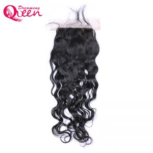 Dreaming Queen Hair Natural Color Water Wave Lace Closure  Brazilian Remy Human Hair  Bleached Knots Closure With Baby Hair