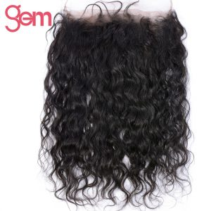 GEM BEAUTY Hair Water Wave 360 Full Lace Frontal Closure With Baby Hair Brazilian Human Hair Closure Remy Hair Extension