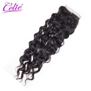 Celie Hair Brazilian Water Wave Lace Closure Remy Hair Bundles Free Part 130% Density Human Hair Closure 10-20 inch