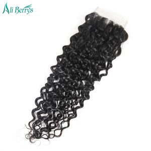 Ali Berrys Hair Brazilian Water Wave Lace Closure 100% human hair 4x4 size Free Part Closure 120% Density,Free Shipping
