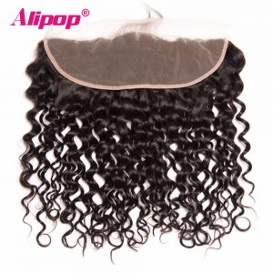 "ALIPOP Peruvian Water Wave Lace Frontal Closure With Baby Hair  10""-22"" Pre Plucked Natural Hairline Non Remy Human Hair"