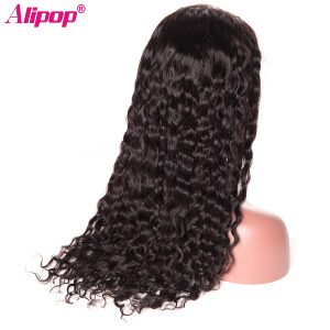 Peruvian Water Wave Lace Front Human Hair Wigs For Black Women With Baby Hair ALIPOP None Remy Hair Wig Pre Plucked