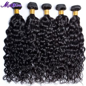 Maxine Hair 1 Bundle Thick Peruvian Water Wave Human Hair Weaving Natural 1B Non Remy Peruvian Hair Bundle 100g/Pc Double Weft