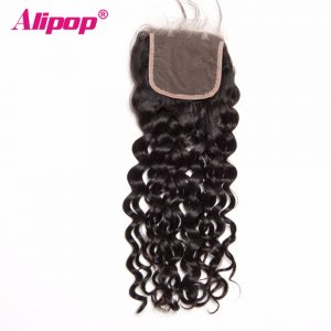 "ALIPOP Peruvian Water Wave Lace Closure With Baby Hair No Remy Hair Natural Color 8""-24"" Swiss Lace Human Hair Closure"
