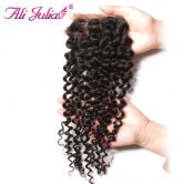 Ali Julia Brazilian Curly Closure Free Part  Natural Color Non Remy Lace Closure 10- 20 inch Can Match Human Hair Weave