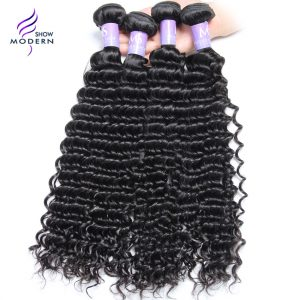 Modern Show 100% Unprocessed Brazilian Virgin Hair Curly Weave Human Hair Bundles Natural Color Free Shipping Can Buy 3 / 4 Pcs