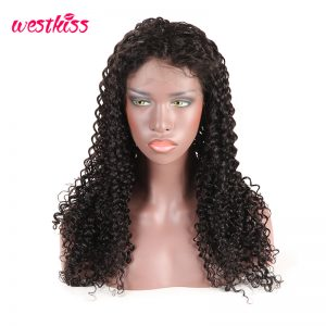 West Kiss 180% Density Brazilian Curly Lace Front Wig For Black Women 100% Human Hair Wig With Baby Hair Pre Plucked Remy Hair