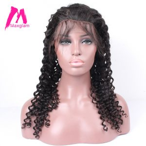 Maxglam 360 Lace Front Human Hair Wigs With Pre Plucked Baby Hair For Black Women Brazilian Curly Remy Hair Free Shipping