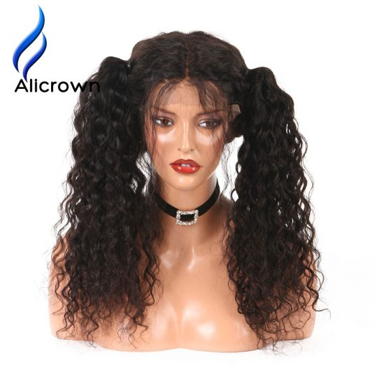 Alicrown Pre-Plucked Curly Brazilian Full Lace Human Hair Wigs With Baby Hair Glueless Remy Hair Lace Wigs For Black Women