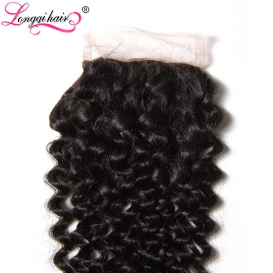 "LONGQI HAIR Free Part Peruvian Curly Lace Closure 4""x4"" Natural Black Color 10-20 Inch NonRemy Human Hair 120% Density"