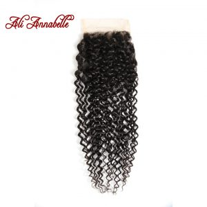 ALI ANNABELLE HAIR Brazilian Kinky Curly Hair Lace Closure 4*4 Brazilian Hair 100% Remy Human  Hair Closure Free Part