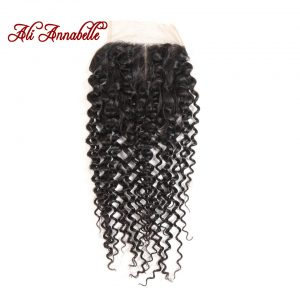 ALI ANNABELLE HAIR Brazilian Kinky Curly Middle Part Lace Closure 4x4 100% Remy Human Hair Swiss Lace 130% Density