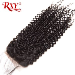 """Rxy Hair Brazilian Kinky Curly Closure 100% Remy Hair 4*4 Free Part 8""""-22"""" Human Hair Lace Closure With Baby Hair Free Shipping"""