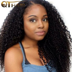 Manageable Fluffy Brazilian Kinky Curly Hair Weave Bundles 100% Human Fast Shipping Natural Black Color QThair Non Remy