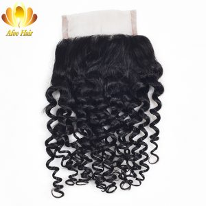 Ali Afee Hair Products Kinky Curly Lace Closure Middle Part Brazilian Non-remy Human Hair 130% Density Swiss Lace 4*4 8''-20''