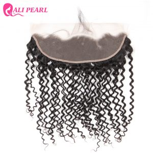 AliPearl Hair Brazilian Kinky Curly Lace Frontal Closure with Baby Hair 13X4 Human Hair FreePart Color1b Remy Hair Free Shipping
