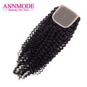 "Annmode brazilian kinky curly Lace Closure free Part ""4X4"" Swiss Lace A Bundle Free Shippping remy Human Hair"