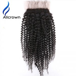 ALICROWN Kinky Curly Silk Base Closure With Baby Hair Brazilian Remy Human Hair For Black Women Natural Color 8~20 inch