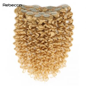 Human Hair Clip In Extensions Braziian Non Remy Afro Kinky Curly Hair Rebecca Hair Blonde Hair Pcs Color 613 12-22inch 7pcs/ Set