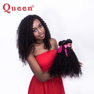 "Queen Hair Products Brazilian Kinky curly Weave Human Hair Bunldes 10""-28"" 100% Remy Hair Weaving 3 or 4 Bundles For a Full Head"