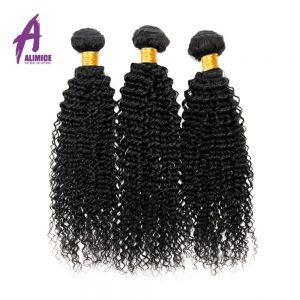 Alimice Hair Brazilian Kinky Curly Hair Extenion 100% Human Hair Weave Bundles Natural Color Non-Remy Hair Bundles Free Shipping