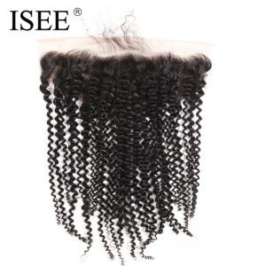 ISEE 13*4 Swiss Lace Frontal Closure Kinky Curly Hair Extension Remy Human Hair Nature Color Can Be Dyed