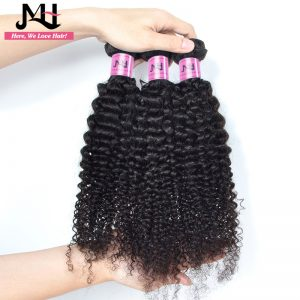 JVH Brazilian Kinky Curly Hair Weaving 100% Human Hair Weave Bundles Natural Black Color Remy Hair Extensions