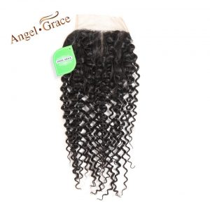 ANGEL GRACE HAIR Middle Part Brazilian Kinky Curly Lace Closure 4x4 Swiss Lace 120% Density 10-22 Inch Remy Hair Free Shipping