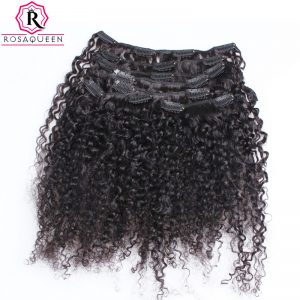 3B 3C Kinky Curly Clip In Human Hair Extensions Full Head Sets 100% Human Natural Hair Clip Ins Rosa Queen Non Remy