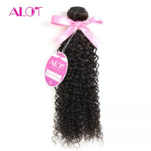 "ALot Hair Brazilian Kinky Curly Hair 100% Human Hair Weaving Natural Color Double Weft Non Remy Hair Bundle 1 Piece 8""-28""Inch"