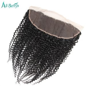 Ali Berrys Hair 13x4 Ear To Ear Kinky Curly Lace Frontal Remy Brazilian Human Hair Closure 1 Piece Free Shipping 10-20 Inch