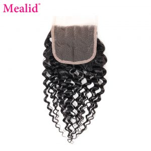 "[Mealid] Brazilian Kinky Curly Closure Free Part 1 Piece Only Remy Natural Color 8""-20"" Human Hair Lace Closure"