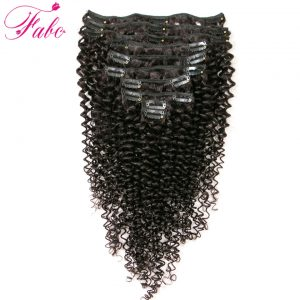 Fabc Hair Kinky Curly Hair Clip in Human Hair Extensions 120g/Set Natural Brazilian Remy 4B 4C Clip In Hair Extensions 10pcs/Set